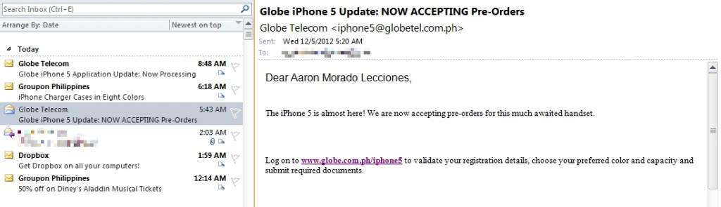 Globe Telecom iPhone 5 availability email